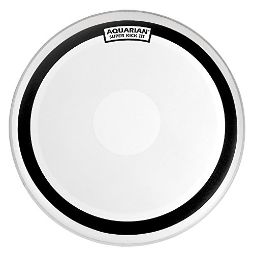 Bass Kick Drum Beater (Aquarian Drumheads SKIII22 Super-Kick III Single 22-inch Bass Drum Head, with Dot)