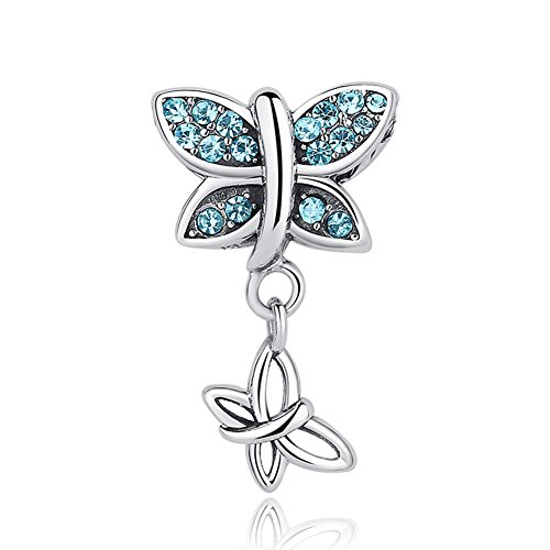 Charm Beautiful Butterfly - BEAUTY Butterfly Charm 925 Sterling Silver Blue Crystal Bead For Lady and Girls Fit Necklace and Bracelet