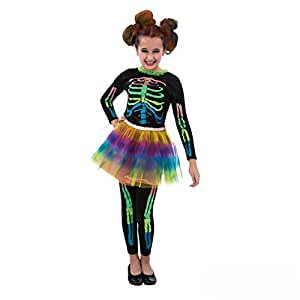 Morph Girls Skeleton Costume, Multi-Colored, Small