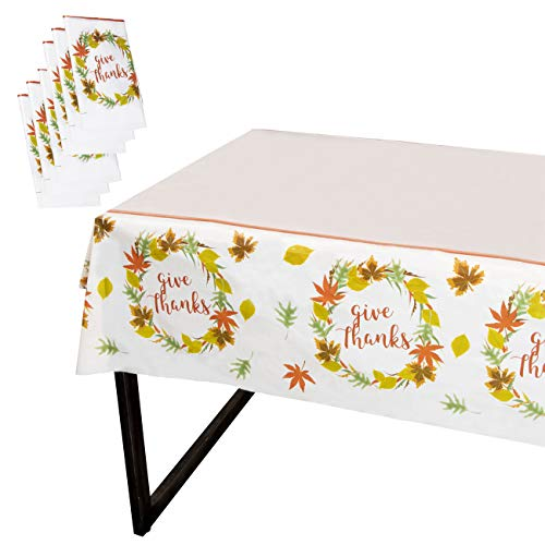 Juvale Thanksgiving Party Tablecloth - 6-Pack Disposable Plastic Rectangular Table Covers - Fall Themed Party Decoration Supplies, Give Thanks with Autumn Leaves Design, 54 x 108 Inches