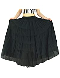 c8d2a1c5a3 YSJ Women's Cotton 5 Tiered A Line Pleated Maxi Skirt Long Dance Swing  Skirts 37.5-