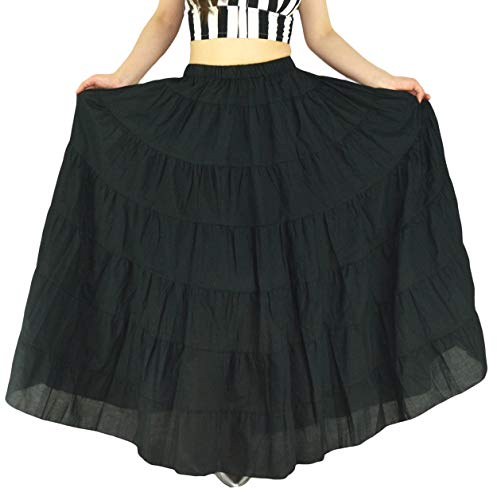 YSJERA Women's Cotton 5 Tiered A Line Pleated Maxi Skirt Long Boho Gypsy Dance Skirts (One Size, A Black ()