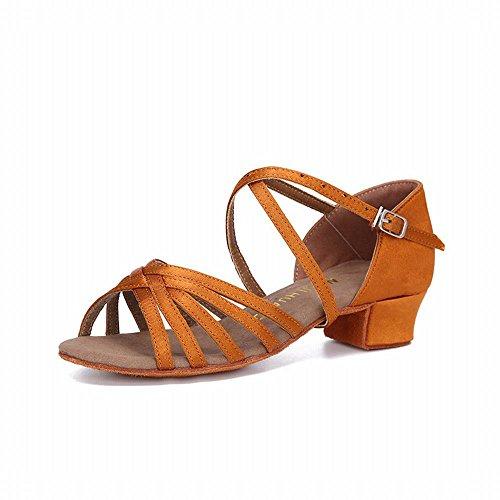 BYLE Sandalias de Cuero Tobillo Samba Danza Jazz Moderno Zapatos Botas de Caucho Corto con Zapato de Baile Color Marrón Suave Onecolor