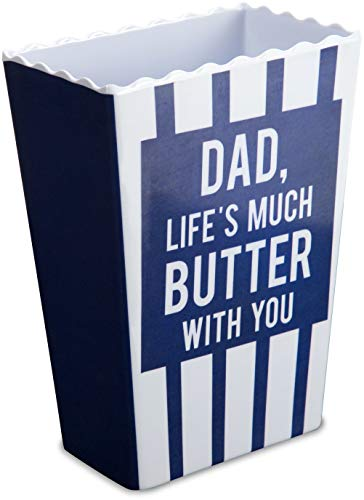 Man Made 14248 Dad, Life's Much Butter With You Striped Melamine Vintage Style Popcorn Snack Bowls, Blue