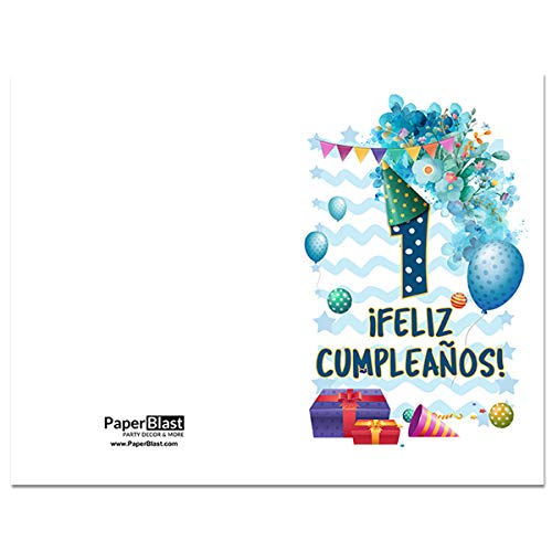 Amazon.com: Boy Party Feliz Cumpleanos First Birthday Card ...
