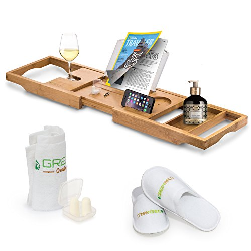 Greenwald Bamboo Bath Caddy Tray, Expandable Non Slip Wooden Bathtub Shelf with Wine Glass and Book Holder, Phone Tray, Luxury Bonus: Slippers, Hand Towel and Earplugs -