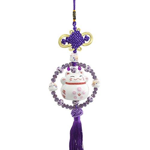 Lucky Cat Car Hanging Pendant Maneki Neko Chinese Knot Decoration Charm 1Pc