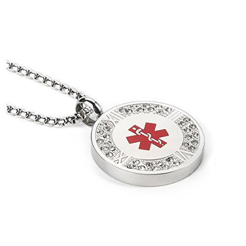 Stainless steel Roman Numeral Tag Medical Alert ID Necklace with 36 Crystal for Womens,Chain 20-24 inch Free Engraving