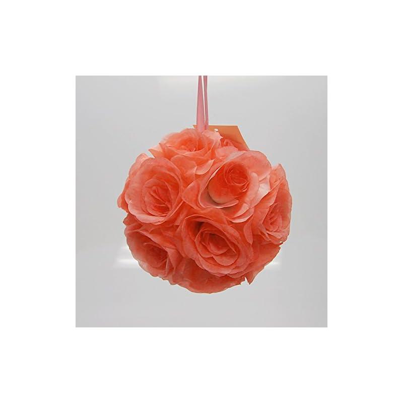silk flower arrangements party spin pomander flower balls wedding centerpiece, 6-inch, coral