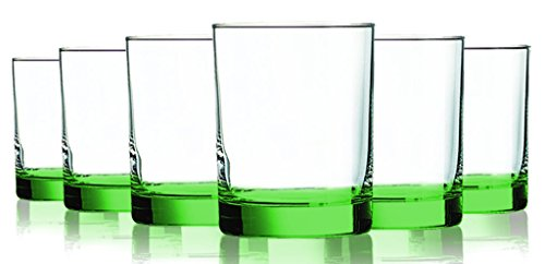 Light Green Beverage 14 oz Aristocrat Double Old Fashioned Glasses Set of 6 by TableTop King - Additional Vibrant Colors Available