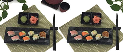 Sushi Dish Set |Beautiful Stoneware, 2 Serving Plates, 2 Condiment Dipping Trays (Divided) & 2 Pairs of Chopsticks| 6pc, Your Choice of Black or White set (Black Dish)