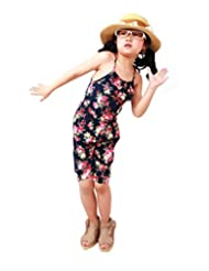 Weixinbuy Baby Girls Floral Romper Jumpsuits Playsuit Overall Spaghetti Straps Tops