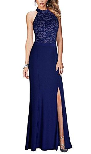 mit Spitze Halter Blau Burgund Linie Damen für Langes A Abendkleid Schlitz YIA4IZw