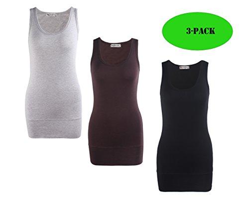 - Moxeay Women Scoop Neck Cotton Extra Long Tank Top Vest (XL, 3pcs)
