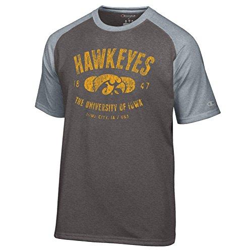 Champion NCAA Iowa Hawkeyes Men's Men's Formation Short sleeve T-Shirt, Medium, Gray