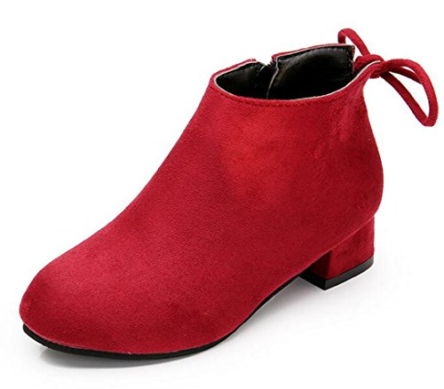 Bumud Little Girls Faux Suede Round Toe Low Heels Ankle Booties Boots Shoes (11 M US Little Kid, Red) - Kid Suede High Heels