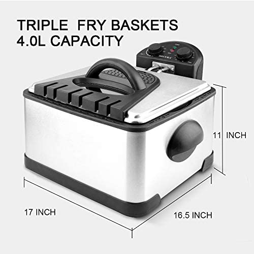 Secura 1700-Watt Stainless-Steel Triple Basket Electric Deep Fryer with Timer Free Extra Odor Filter, 4L/17-Cup 41br4xZUtVL