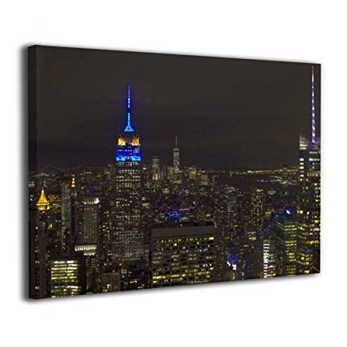 CENSIHER 12x16 Inch Empire State Building in EU Colours Canvas Print Wood Framed Wall Art Painting for Home Decor Picture Giclee Artwork Decorations Ready to Hang ()