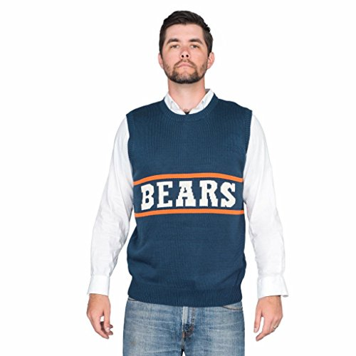 SNL Da Bears Chicago Adult Vest Sweater (Adult Large) Navy -
