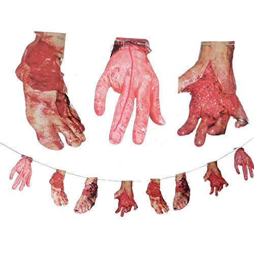 LAVAY Scary Halloween Garland Fake Body Parts Halloween 8pcs Bloody Broken Hands Broken Foots Banner Party Realistic Halloween Decorations Double-Sided Printing -