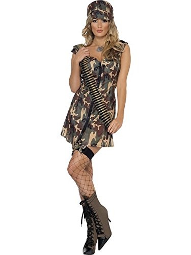 Smiffys Women's Army Girl Costume, Dress and Hat, Troops, Serious Fun, Size 14-16, -