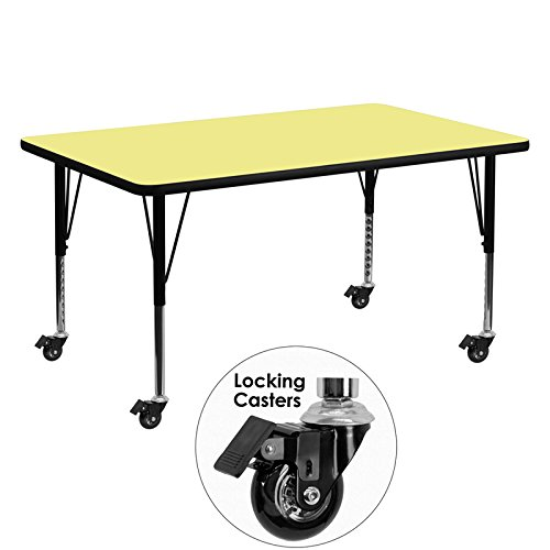 Flash Furniture Mobile 30''W x 60''L Rectangular Yellow Thermal Laminate Activity Table - Height Adjustable Short Legs
