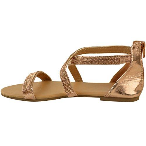 Heelberry Low Metallizzato Summer Strappy Heel Rosa Occasion Diamante Dress Oro Flat Womens Sandali Party Size rHwBqRrf