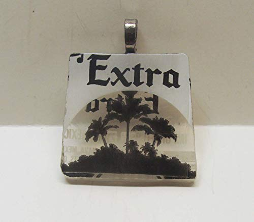 Recycled Corona Beer Bottle Extra with Palm Trees Novelty Pendant