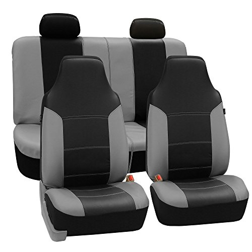FH GROUP FH-PU103114 High Back Royal PU Leather Car Seat Covers Airbag & Split Gray/Black-Fit Most Car, Truck, Suv, or Van (Gray Seat Covers For Suv compare prices)