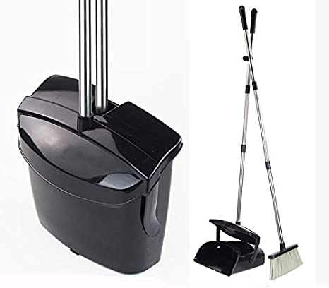 """Black Lobby Broom with 35/"""" Handle and Dust Pan"""