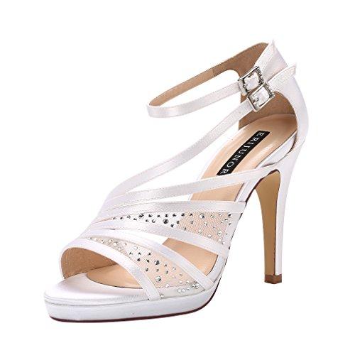 ERIJUNOR E2333A Women Comfortable Platform Rhinestones Lace Mesh Satin Prom Wedding Shoes Sandals Dance for Brides Bridesmaid White Size 6
