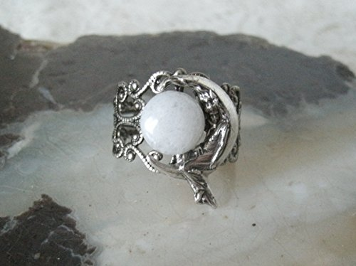 Goddess On Crescent Moon Ring, handmade jewelry moonstone wiccan pagan wicca witch witchcraft ()