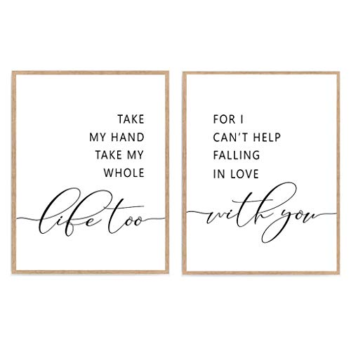 Take My Hand Take My Whole Life Too Print, Set of 2 Inspiration Quote Love Poster, Bedroom Romantic Art Décor 8x10 Unframed