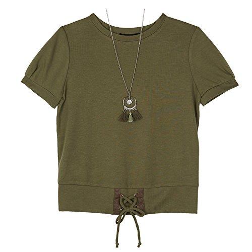 Amy Byer Girls' Big Short Sleeve Lantern Top, Boho Olive, M]()