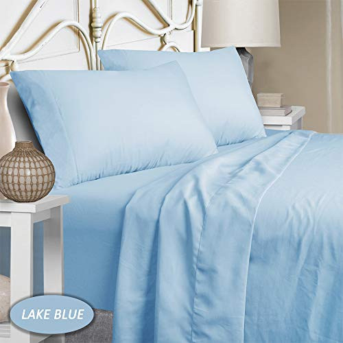 Mejoroom Full Size Sheet Set - Extra Soft Luxury Brushed Microfiber 1800 Thread Count Percale Egyptian Sheets with 15-inch Deep Pocket - Wrinkle Fade and Hypoallergenic - 4 Piece (Full, Lake Blue)