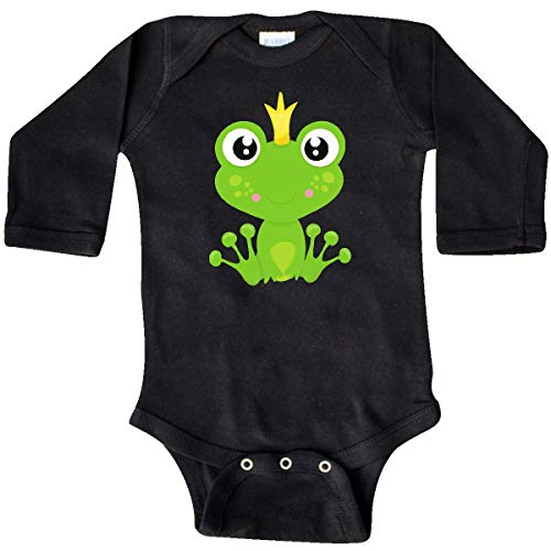 inktastic - Frog Prince, Green Frog, Long Sleeve Creeper Newborn Black ()