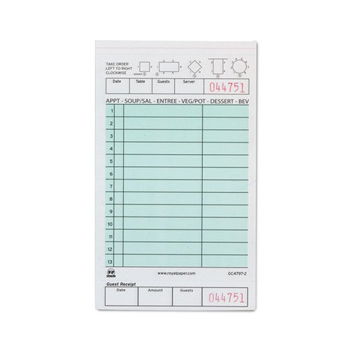 Royal Green Guest Check Board, Carbonless 2 Part Loose with 13 Lines, Package of 250 (Combination Write Lightweight Board)