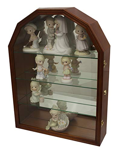 Collector Display Case Wall Curio Cabinet Figurines Display Case Wall Mount (Walnut)