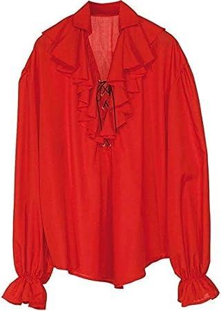 WIDMANN Camisa para hombre piratas - Traje rojo de Buccaneer del vestido de lujo