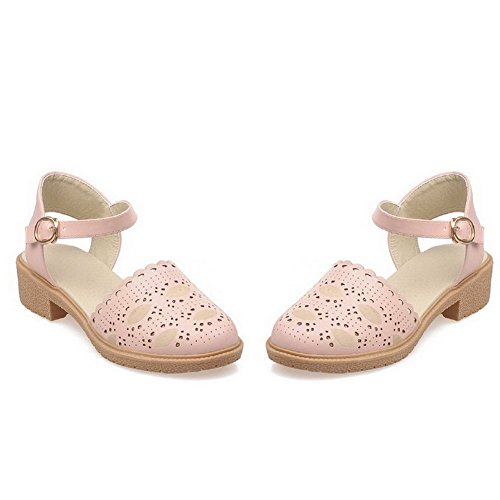 AllhqFashion Women's Soft Material Buckle Closed Toe Low-heels Solid Sandals Pink 0ByrfdI2C