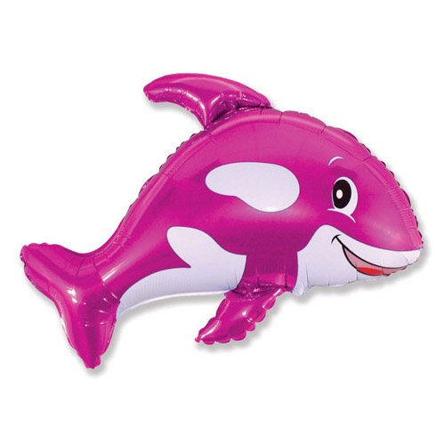 LA Balloons Foil Balloon 901630-Fus Friendly Whale-Fuchsia, 35