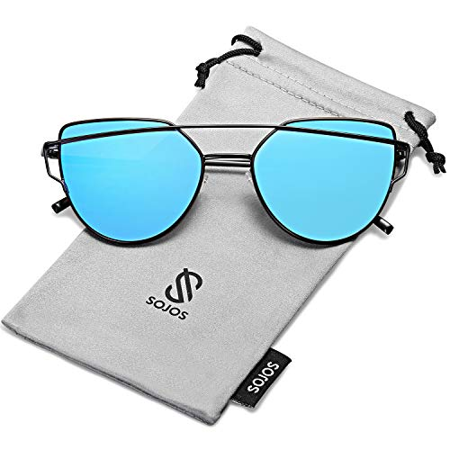 SOJOS Cat Eye Mirrored Flat Lenses Street Fashion Metal Frame Women Sunglasses SJ1001 with Black Frame/Blue Mirrored Lens ()