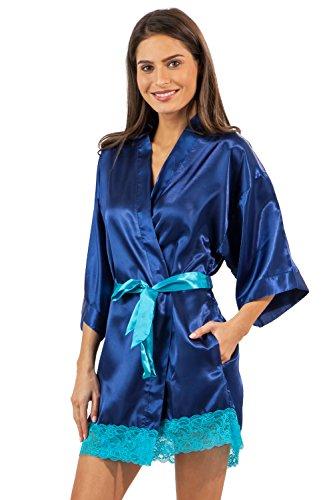 Ashford & Brooks Women's Printed Satin Short Kimono Robe - Royal Blue - Small