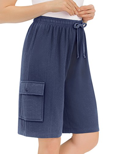 Collections Women's French Terry Cloth Knit Elastic Waist Pocket Cargo Shorts for Women, Navy, Large (Terry Bermuda)