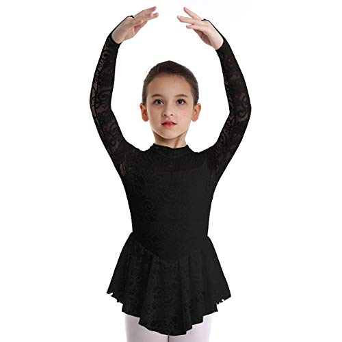 Floral Ballerina Dress - inhzoy Big Girls' Kids Floral Lace Long Sleeves Mock Neck Figure Skating Dress Gymnastics Tutu Skirted Leotard Performance Costumes Black 9-10