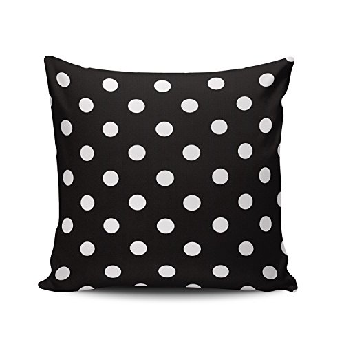 (Hoooottle Custom Fancy Plush Black and White Polka Dot Euro Square Pillowcase Zippered One Side Printed 26x26 Inches Throw Pillow Case Cushion Cover)