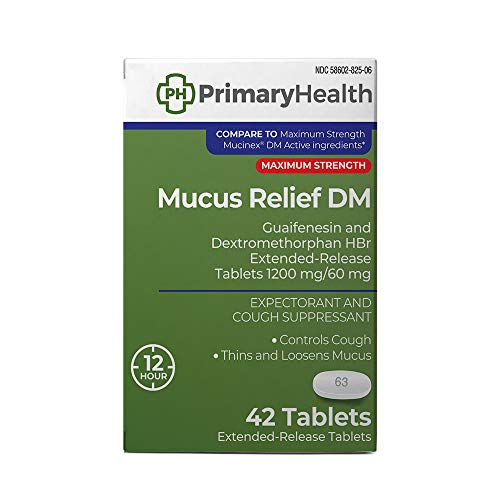 - Primary Health Mucus Relief DM Maximum Strength Dextromethorphan 60mg, Guaifenesin 1200mg, Extended-Release Tablets, 42 Count