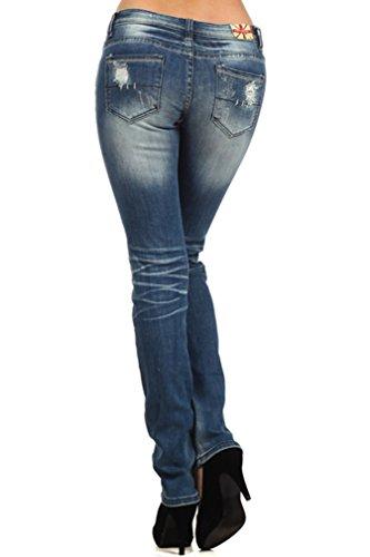 MACHINE JEANS Distressed Destroyed Denims Medium Wash Skinny Jeans Size 0