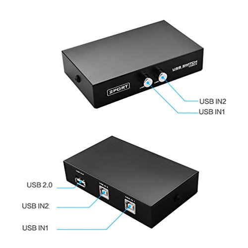 2 Port USB 2.0 Selector Switch 2 PC Share 1 USB Device Like Printer Flash Driver Mouse Keyboard with USB-A Interface by RIJER (Image #5)