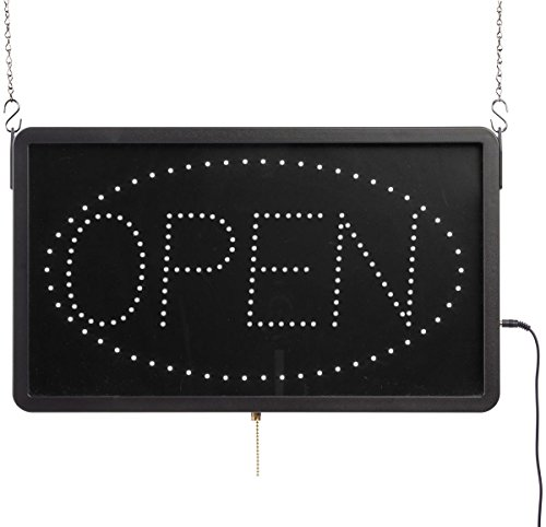 Displays2go Animated LED Sign, Reads Open, Includes Oval Swoosh with 12V Adapter- Black Plastic (LEDOPEN09)